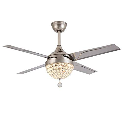 Leesville Crystal Modern Ceiling Fan-Remote Control Home 3 color replacement LED Mute Electric Fans Chandeliers 4 Stainless Steel Blades 44 Inch for Living Room, Bedroom, Dining Room