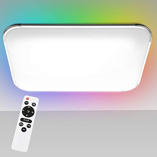 Hengda RGB LED Deckenleuchte Dimmbar, 48W 4320LM Deckenlampe, IP44 Schutzart, Wohnzimmerlampe Schlafzimmerlampe Kinderzimmerlampe, Flimmerfrei und Blendfrei Innenleuchte