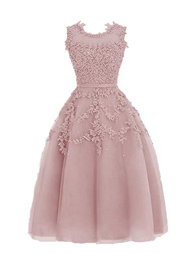 HUINI Ballkleider Tüll Kurz Abendkleid Hochzeitskleid A-Linie Brautjungfernkleid Spitzen Sommer Abiball Partykleid Altrosa 32
