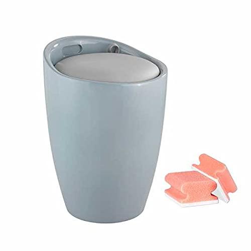 WENKO Badhocker mit Wäschekorb Candy Grau – Hocker mit Stauraum und abnehmbaren Sitz mit Wäschesack, Kunststoff (ABS), inklusive GRATIS 2er Schwamm Set in Rot/Weiß