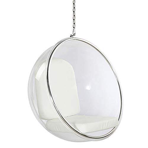 YQZ Bubble Hanging Chair, Silla Hemisphere Hanging Indoor Basket Swing, Lazy Space Bubble Chair Dormitory Balcón Cuna, Respaldo Lounge Chair,Blanco,113x113x68cm