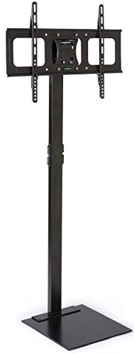 Displays2go Television Stand with Floor Mount, Steel Construction, Horizontal Orientation – Black (TVSVM3270B)