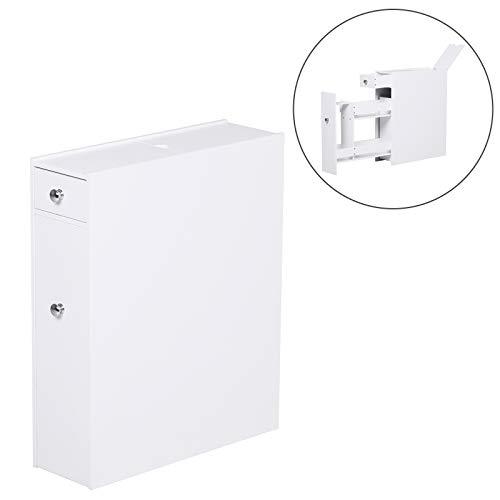HOMCOM Badschrank Schubladenschrank Badezimmerschrank Badmöbel mit 2 Schubladen und 1 Ablagefach Holz Weiß 48 x 17 x 58 cm