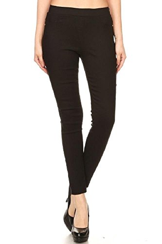 Women's Cotton Blend Super Stretchy Skinny Solid Jeggings Black XXX-Large