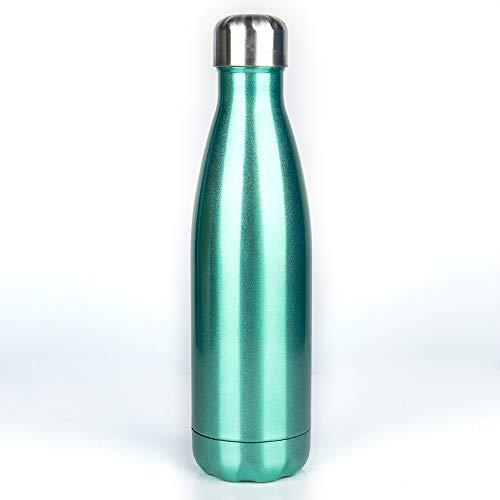 Botella de agua de viaje de 500 ml, aislada, simple, moderna, de acero inoxidable, sin BPA, doble pared, deportiva, a prueba de fugas, fría, botella de agua fría, botella de agua caliente con cepillo, Hombre, SKU12887_2+SKU13308, verde menta