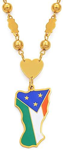 YOUZYHG co.,ltd Halskette Atoll Flagge Anhänger Perlen Kette Halsketten Frauen Männer Edelstahl und Emaille Mikronesien Schmuck 60 cm