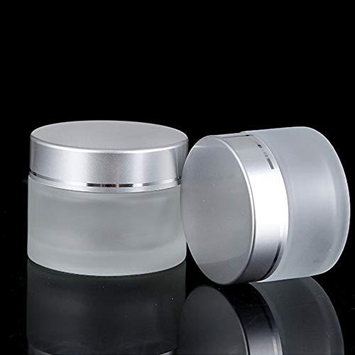 KingYH 2 Stück 50ML Cremedose Leer Matt Glas-Tiegel mit Silber Deckel und Liner Nachfüllbare Mini Glas Flaschen Behälter für Lagerung Kosmetik Creme Lotionen Ätherische Öl Pulver-Matt Weiß