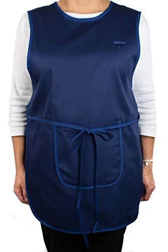 Delantal - Pichi Maestra Infantil Limpieza - Bata o Estola Laboral Clínica Médicos Sanitarios Hostelería - Casulla con Dos Bolsillos Ajustable (Azul Marino)