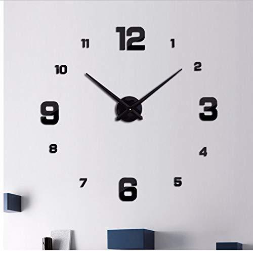 ganjue Nouveau Mode DIY Acrylique Miroir Horloge Murale Europe 3D Big Quartz Montre Still Life Horloges Salon Décoration De La Maison Autocollants Noir 27 Pouces