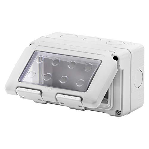 Caja de superficie estanca Serie 27 para mecanismos SYSTEM de GEWISS - IP55-4 Módulos - Gris RAL 7035 - GW27044DY