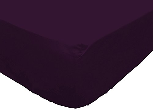 Atmosphère 614218 Atmo Drap Housse Uni Poly Coton Violet 200 x 160 cm
