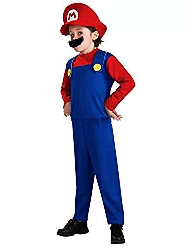 thematys Super Mario Luigi Cappello + Pantaloni + Barba - Costume per Bambini - Perfetto per Carnevale e Cosplay (Medium 120-130cm, Super Mario)