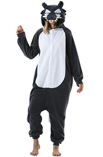 Mujer Hombre Pijama Animal Entero Unisex para Adultos con Capucha Cosplay Pyjamas Ropa de Dormir Traje de Disfraz para Festival de Carnaval Halloween Navidad Gris Lobo para Altura 148-187cm