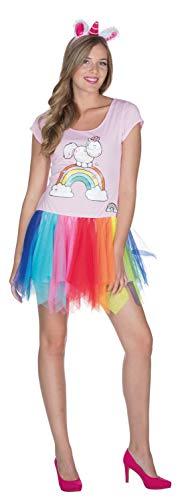 Rubies Theodor 380437-XS - Vestido clásico para Mujer, Talla XS, arcoíris, tutú, Unicornio, Carnaval, Unicornio, arcoíris, Multicolor