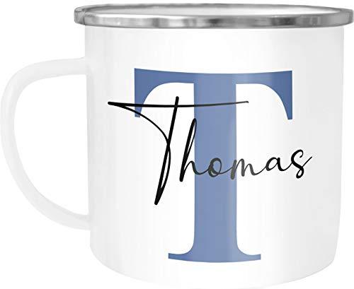 SpecialMe® Emaille-Tasse mit Namen Buchstabe Emaille-Becher Monogramm Initiale personalisierte Geschenke Namensaufdruck blau weiß-metall Emailletasse
