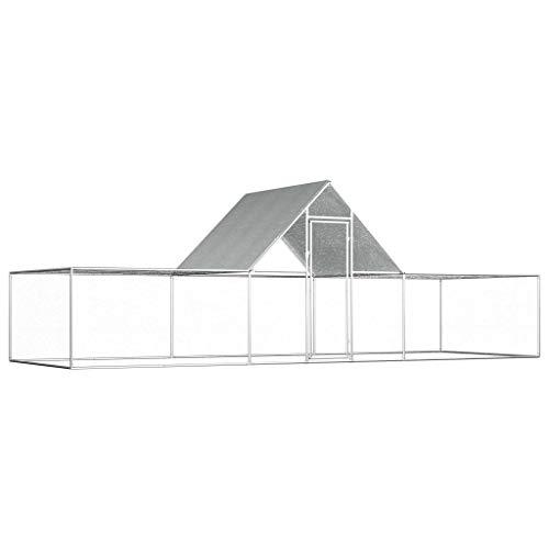 UnfadeMemory Hühnerstall Hühnerkäfig mit Wasserfestem Dach Verzinkter Stahl Freilaufgehege Hasenstall Hühnerhaus geeignet für Huhn, Henne, Ente, Gans usw. (#B- 6 x 2 x 2 m)