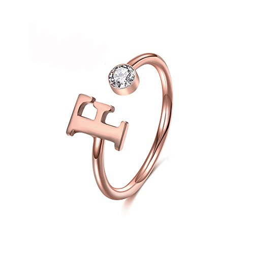 MANZHEN Personalized Rose Gold Initial Letter Ring A-Z Stackable Ring (M)