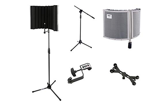 LyxPro VRI 30 Portable Acoustic Isolation Instrument Shield, Sound Absorbing, Reflection Panel with Tripod Microphone Stand & Adjustable Universal Smartphone Tablet Holder With Extra Detachable Clip
