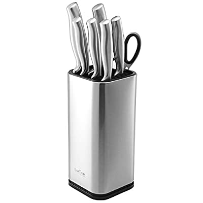 "Laxinis World Universal Knife Block, Stainless-Steel Modern Rectangular Design with Scissors-Slot, Knife Holder Countertop Storage, Holds 12 8""-Blade Knives, 9.1"" by 4"""