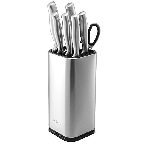 "Laxinis World Universal Knife Block StainlessSteel Modern Rectangular Design with ScissorsSlot Knife Holder Countertop Storage Holds 12 8""Blade Knives 91"" by 4"""