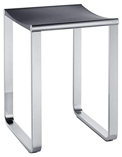 KEUCO Bad-Hocker in chrom und anthrazit, Anti-Rutsch Füße für die Dusche, bis 100 kg, 46,9 cm hoch, Design-Badhocker, Dusch-Sitz, Plan