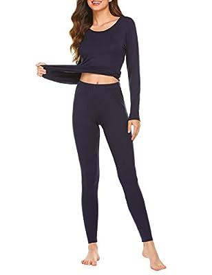 Ekouaer Baser Layer 2PCS Thermal Sets Womens Lightweight Underwear Soft Knit Top & Bottom Navy Blue