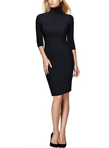 MIUSOL Damen 3/4 Aermel Wollkleid hoher Kragen Figurbetontes Strickkleid Pullover Kleid Schwarz M