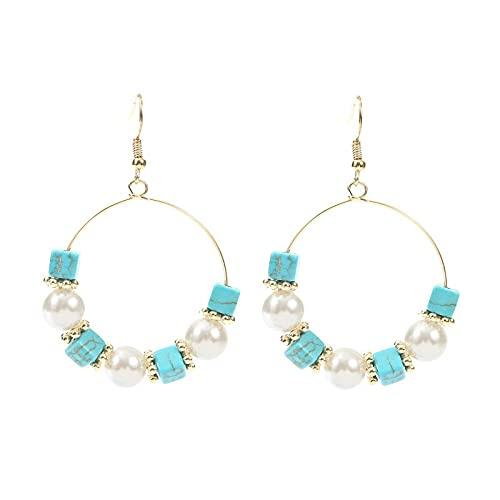 xiangwang Pendientes vintage étnicos de cristal perla verde piedra gota para mujeres 2021 moda retro redondo oro colgante pendiente fiesta joyería regalo (color metal: E1188-1)