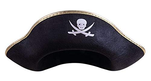 P'TIT CLOWN 24600 Chapeau Feutre Pirate Adulte avec Galon - Or/Noir