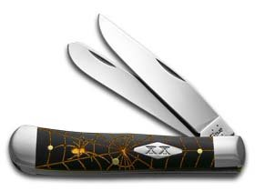 CASE XX Gold Spider Web Black Delrin Trapper 1/500 Stainless Pocket Knife Knives