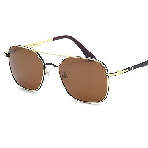 Gafas de sol polarizadas para mujer y hombre con lentes de espejo de polígono para mujer marrón marrón