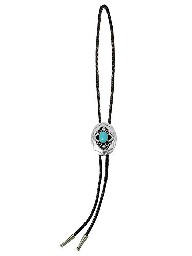 Sunrise Outlet Men's Western Bolo Tie German Silver Tone with Turquoise Stone with Black Leatherette - 18 inch hang