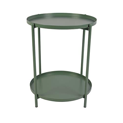 H JINHUI Round Metal Side Table End Table with Double Tier,Removable Tray,Sofa Side Snack Table Nightstand,Outdoor & Indoor Drink Snack Coffee Table,Anti-Rust and Waterproof (Green)