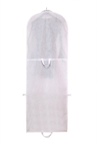 TUKA 71' Breathable Garment Cover, 180 x 65 cm Clothes Bag, Storage Transport of Wedding Dress Gown Evening dress, suit coat. Long Zip + 2 Pockets + Carry Handles, TKB1001 White