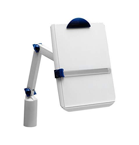 MAUL Ergonomischer Universal Dokumentenhalter, Klemmfuß, Klemmbrett DIN A4, Drehbar, Neigbar, Grau, 8132282, 1 Stück