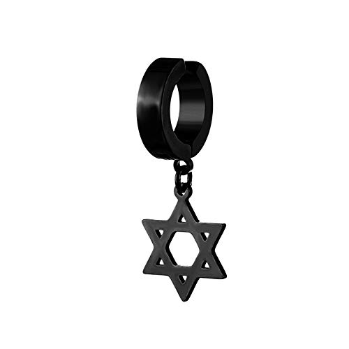 SYDBAODAN Punk Earring - Geometric Gothic Stud Earrings,Punk Rock Style Unique Ear Cuffs Clip-On Earrings For Men Women'S Popular Personalized Style Earrings,Star,Black