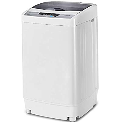 Giantex Full-Automatic Washing Machine Portable Compact 1.34 Cu.ft Laundry Washer Spin with Drain Pump, 10 programs 8 Water Level Selections with LED Display 9.92 Lbs Capacity