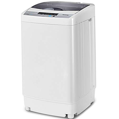 Giantex Full-Automatic Washing Machine Portable Compact 1.6 Cu.ft Laundry Washer Spin with Drain Pump, 10 programs 8 Water Level Selections with LED Display 12 Lbs Capacity
