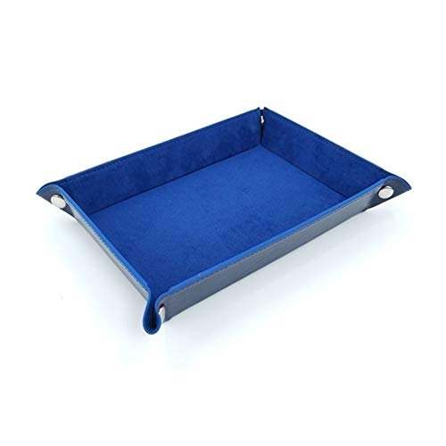 TX GIRL 1 PC PU Dados Bandejas Plegables De Terciopelo Caja De Almacenamiento De Tela For Juegos Tabla De Claves De La Caja De Moneda De Escritorio Misceláneas Bandejas (Color : Blue)