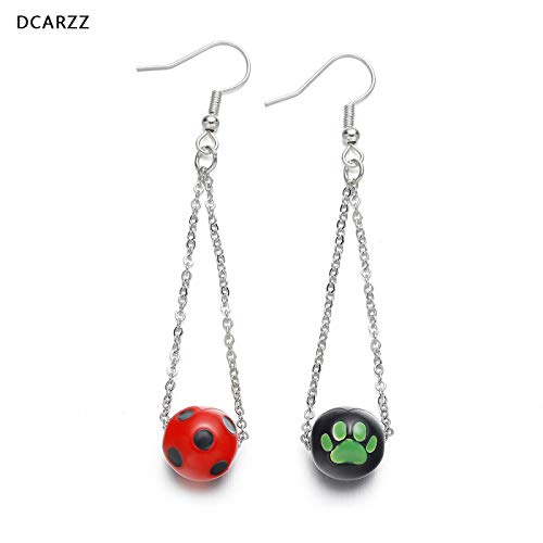 YUNMENG Ladybug and Cat Noir Earrings Hanging Long Silver Color Chain Drop Earrings Kids Jewelry Cartoon Ladybug Party Cosplay Costume