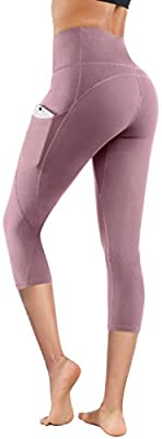 Lingswallow High Waist Yoga Pants - Yoga Pants with Pockets Tummy Control, 4 Ways Stretch Workout Running Yoga Leggings (Capris Lilac Pink, Large)
