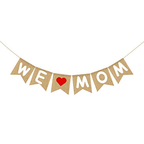 Burlap We Love Mom Banner Garland | Rustic Mothers Day Decorations | Mothers Day Gifts from Son and Daughter