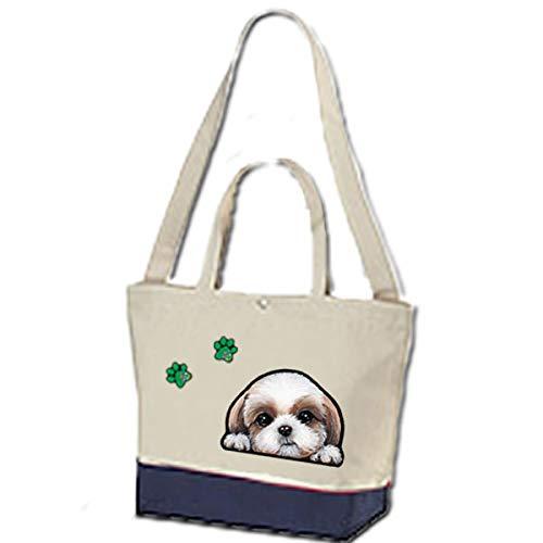 2wayトートバッグ/ 内ポケット付/犬/お散歩バッグ/シーズー19/犬 かばん トートバッグ/キャンバス雑貨グッズ犬雑貨