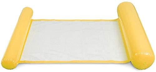 Hamaca Flotante Inflable Piscina Colchón Hinchable 4 en 1 [ Hamaca + Silla de Descanso + Drifter + Sillín de Ejercicio ] para Piscina Playa Mar - Amarillo