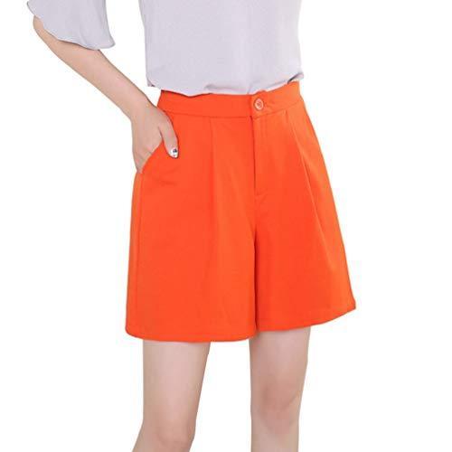 HX fashion Damen Einfache Einfarbig Mit Shorts Strand Taschen Loser Hose Bequeme Größen Badehose Mit Sommer Frauen Mode Badeshorts Strandhose Weiter Beine (Color : Orange, Size : M)