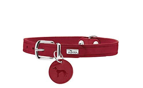 HUNTER AALBORG Hundehalsband, Leder, schlicht, robust, komfortabel, 37 (XS-S), rot