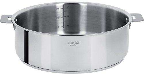 Cristel - S24QMP- Sauteuse inox 24cm sans poignée amovible - Collection Casteline