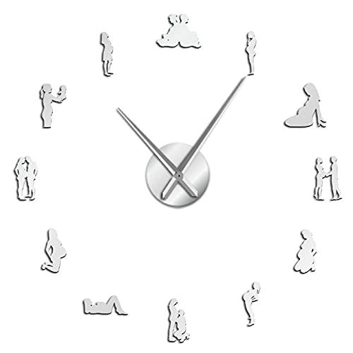 Reloj de pared Embarazo Arte de la pared Decoración del hogar Diy Reloj de pared grande Mujeres embarazadas Bebé recién nacido Mamá para ser Reloj de pared decorativo Regalo de inauguración de la casa