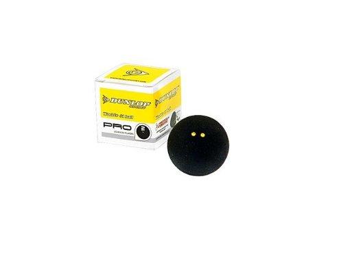 Dunlop Pro Squashball 2 gelbe Punkte, superslow 1 Ball Farbe: schwarz (black)