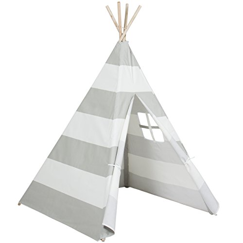 Best Choice Products 6ft Kids Cotton Canvas Teepee Playhouse Sleeping Dome Play Tent w/ Carrying Bag - White/Gray
